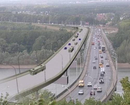 Затонский мост через реку Белую (Справа действующий мост, слева будущий мост)